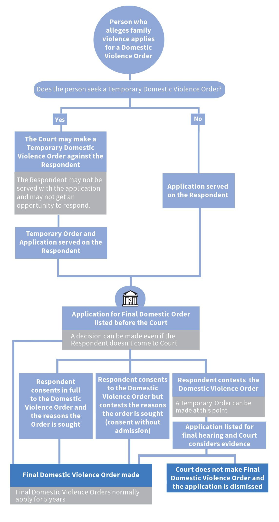 Flowchart of domestic violence proceedings